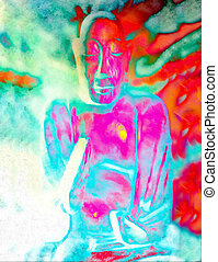 Buddha silhouette in lotus position against colorful grunge...