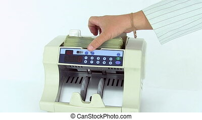 Cash money counting machine. Banknote counter are counting...