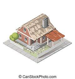 Farm isometric building, farmhouse vector
