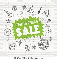 White brick wall and graffiti label. Christmas sale