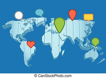 Social network concept The Earth map in perspective