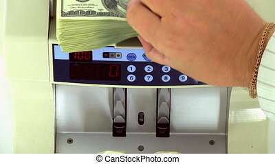 Cash money counting machine Banknote counter are counting...