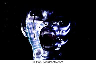 Digital female Face - Digital Visualization of a female Face
