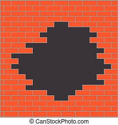Hole in brick wall orange