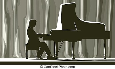 Pianist in concert hall. - Illustration of silhouette...