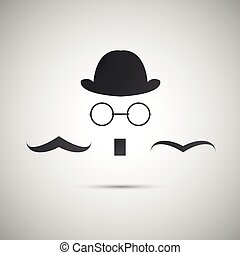 Vector black hat with a old mustache