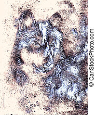 Wolf, color abstract background, multicolor illustration and...