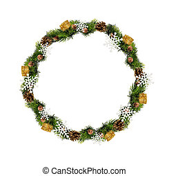 Beautiful Christmas wreath isolated over white background
