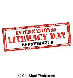 International Literacy Day - Grunge rubber stamp with text...