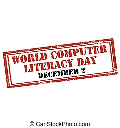 World Computer Literacy Day - Grunge rubber stamp with text...
