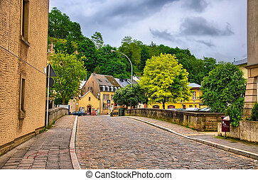 Old stone bridge in Luxembourg, Benelux, HDR - Old stone...