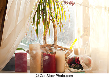 Candles on a windowsill - Large candles on the windowsill...