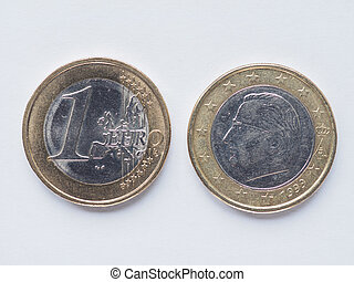 Belgian 1 Euro coin - Currency of Europe 1 Euro coin from...