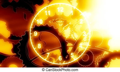 Gears and Time Loop - Looping Animated Background