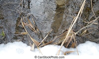 Surface of flickering water in brook with melting ice in...