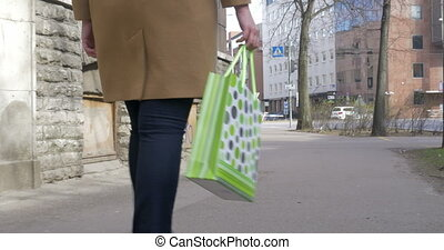 Girl with shopping bag walking in the street