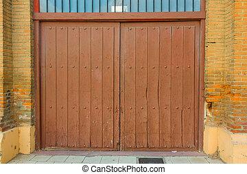 métal, entrée, porte, feuille, stationnement