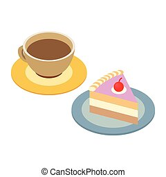 Coffee cup and piece of cake