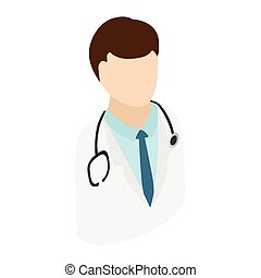 Doctor with stethoscope isometric 3d icon isolated on white...