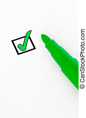 Green check-box - Check-box ticked with a green felt pen