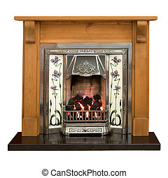 Pine fireplace - Victorian style tiled fireplace with pine...
