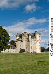 Castle Fraser in Scotland - Medieval castle and grounds on a...