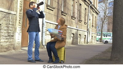 Tourists in Tallinn Searching for the Way - Steadicam shot...
