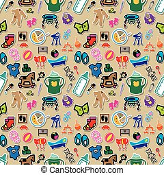 baby icons seamless wallpaper vector style