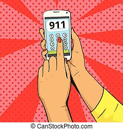 Female emergency call pop art vector