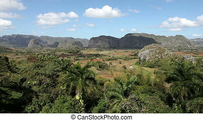Cuba. Tropical nature of Vinales Valley. Landscape in a...