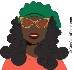 Girl in sunglasses and beret. - Fashion vector illustration....
