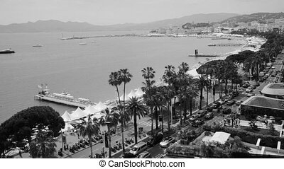 Black and white view of the riviera in Cannes