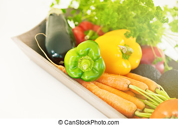 Raw Vegetables - Bunch of raw seasonal vegetables on a tray...
