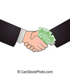 Handshake corruption concept illustration design