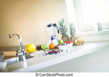 Smoothie Preparation - Ingredients for making smoothie in...