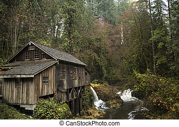 Cedar Creek Grist Mill, 1876 - An autumn view of the Cedar...