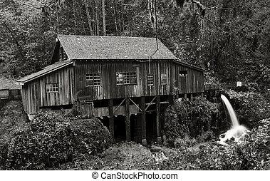 Cedar Creek Grist Mill, 1876 - An autumn view of the Cedar...