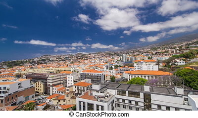 View from the mountain over the rooftops from cable car on...