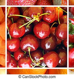 Red food collage - Food collage including 9 pictures of...