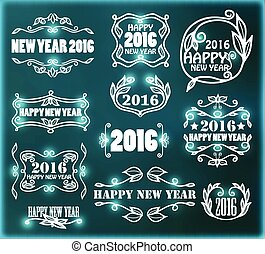 Vector vintage neon frames for happy new year