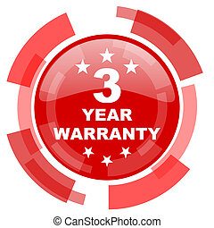 warranty guarantee 3 year red glossy web icon