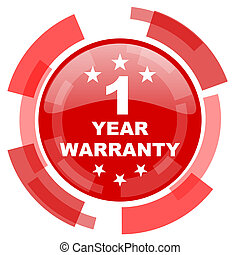 warranty guarantee 1 year red glossy web icon