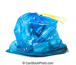 blue garbage bag with trash