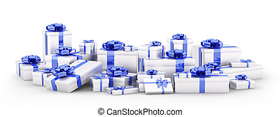 Silver gift boxes, presents isolated 3d rendering