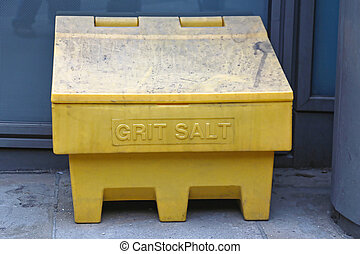 Grit Salt - Yellow Plastic Box With Grit Salt Ready For...