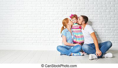 conceito, hipoteca, família, mãe, parede, habitação,...