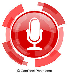 microphone red glossy web icon