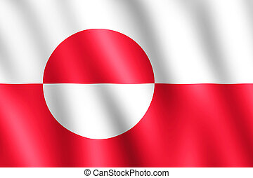 Flag of Greenland waving in the wind giving an undulating...