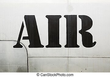 Air label on aircraft - Air label written on an aircraft