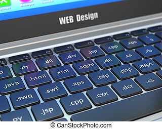 Web design development concept, Programming or SEO termnes...
